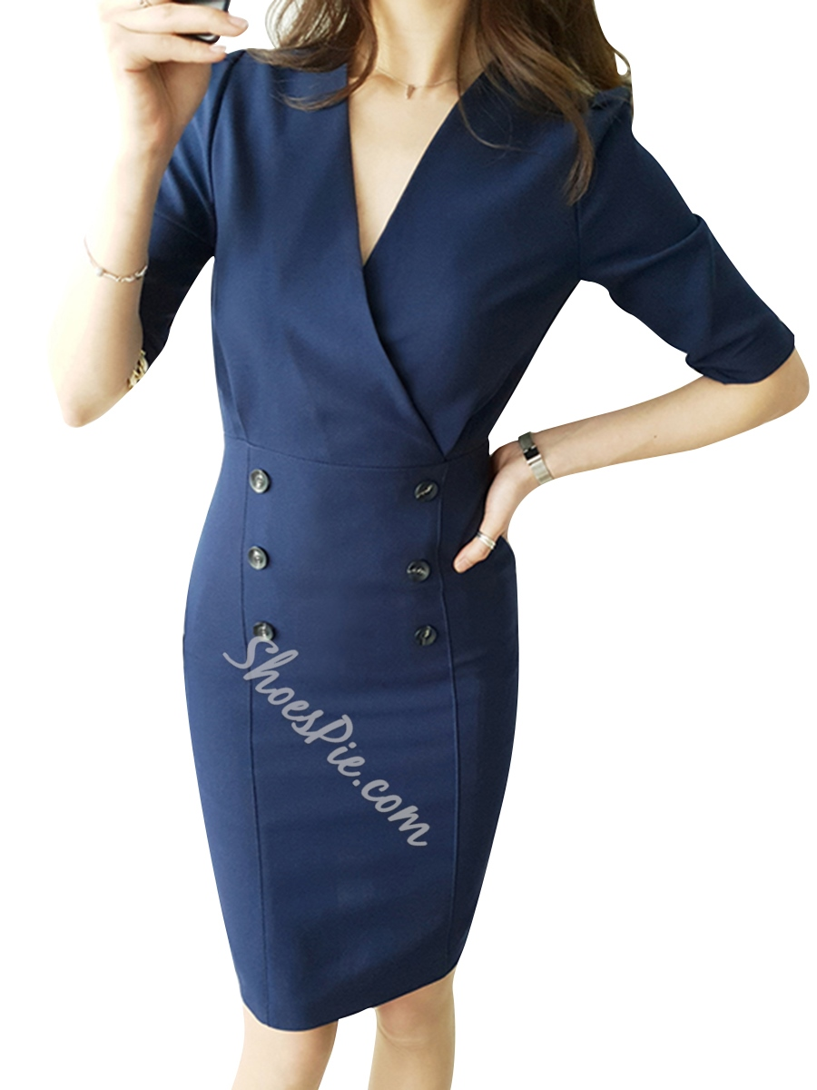 Shoespie V Neck Button Pullover Women's Bodycon Dress