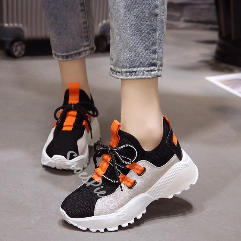 Chic Round Toe Lace-Up Platform Women's Sneaker