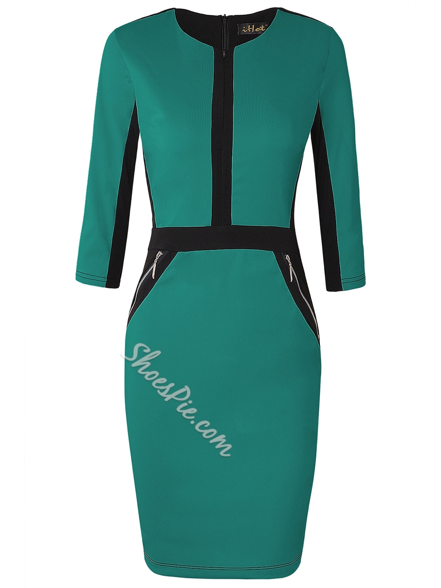Shoespie Pencil Color Block Women's Bodycon Dress
