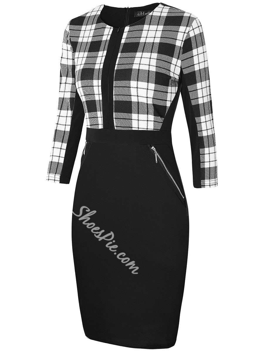 Shoespie Pencil Pullover Geometric Women's Bodycon Dress