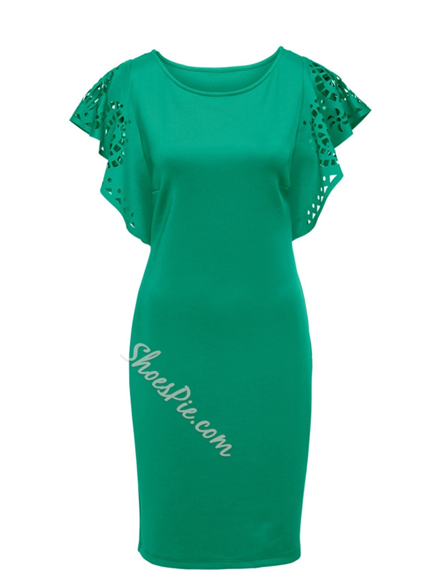 Shoespie Hollow Round Neck Pullover Women's Bodycon Dress