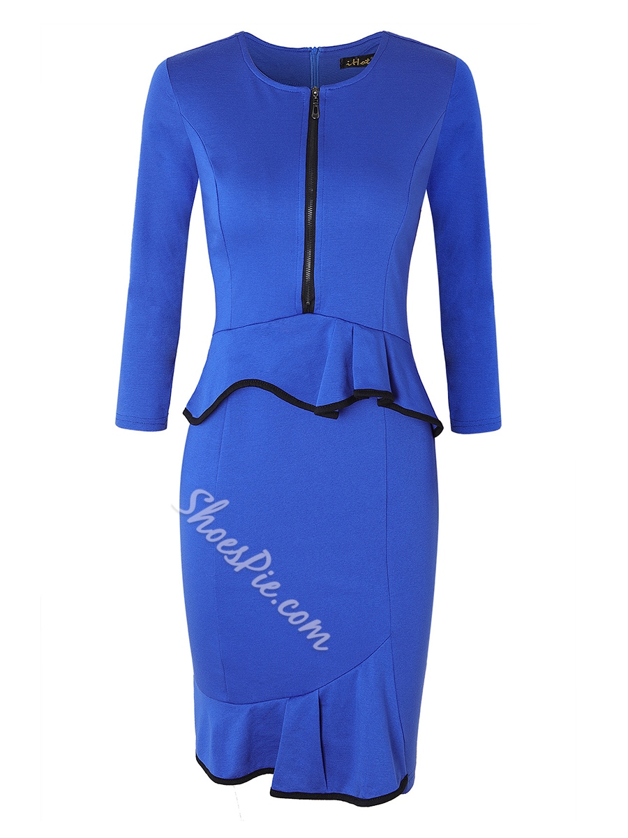 Shoespie Falbala Pullover Round Neck Women's Bodycon Dress