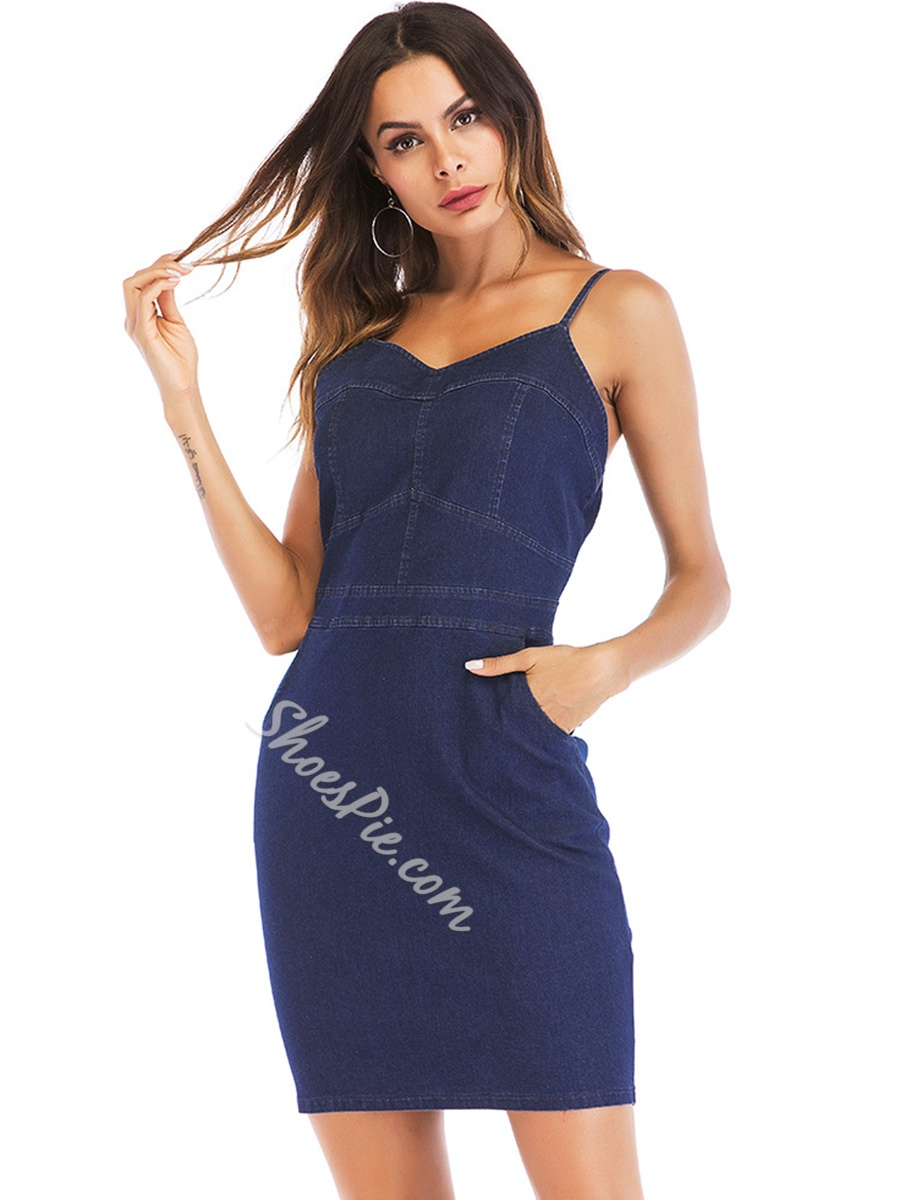 Shoespie Pocket Spaghetti Strap Women's Bodycon Dress