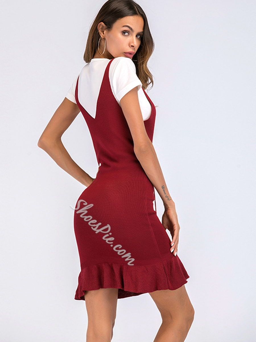 535bcda5 Shoespie Pullover V Neck Lace-Up Women's Bodycon Dress- Shoespie.com