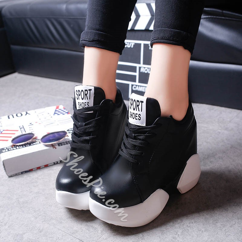 Black & White Hidden Elevator Heel Lace-Up Sneaker