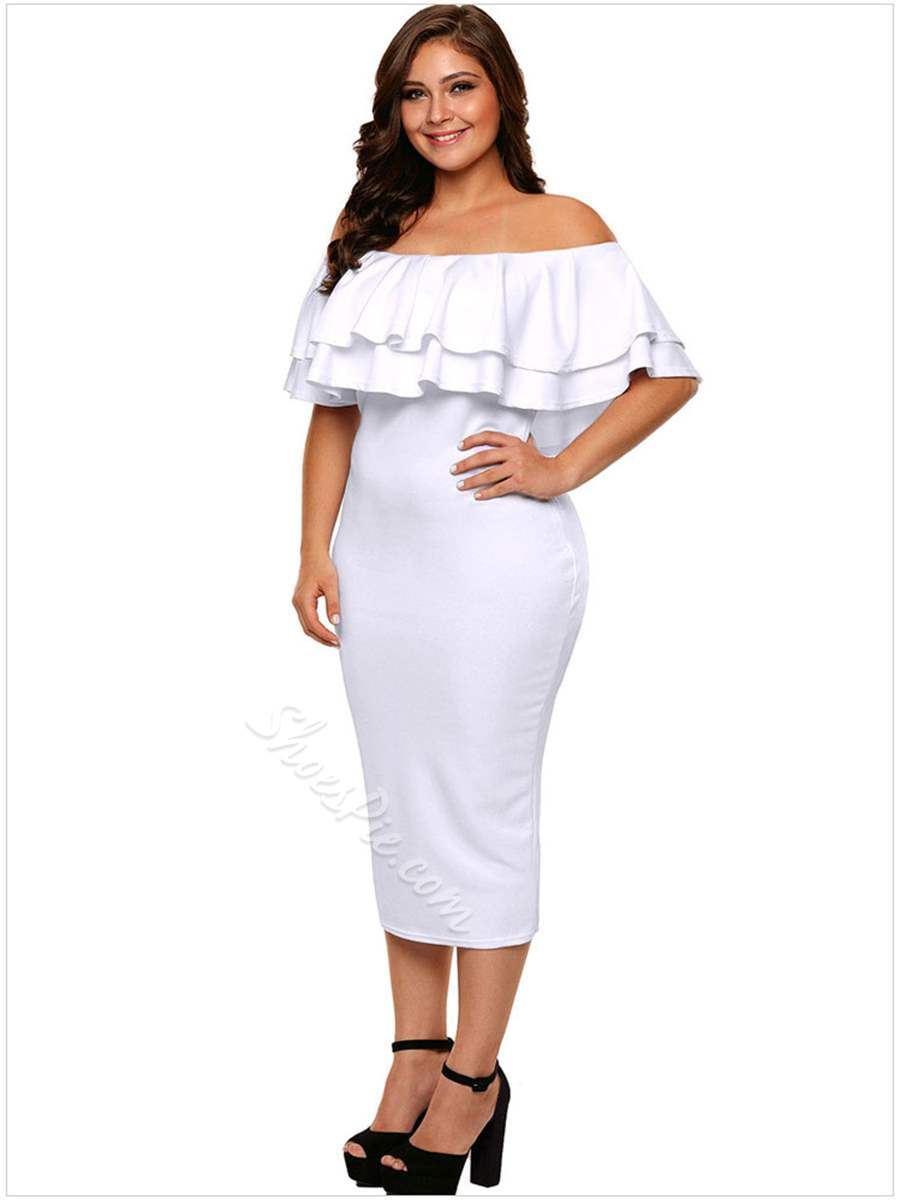 Shoespie Pullover Ruffles Slash Neck Women's Bodycon Dress