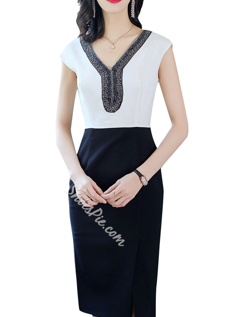 Shoespie Pencil V Neck Pullover Women's Bodycon Dress