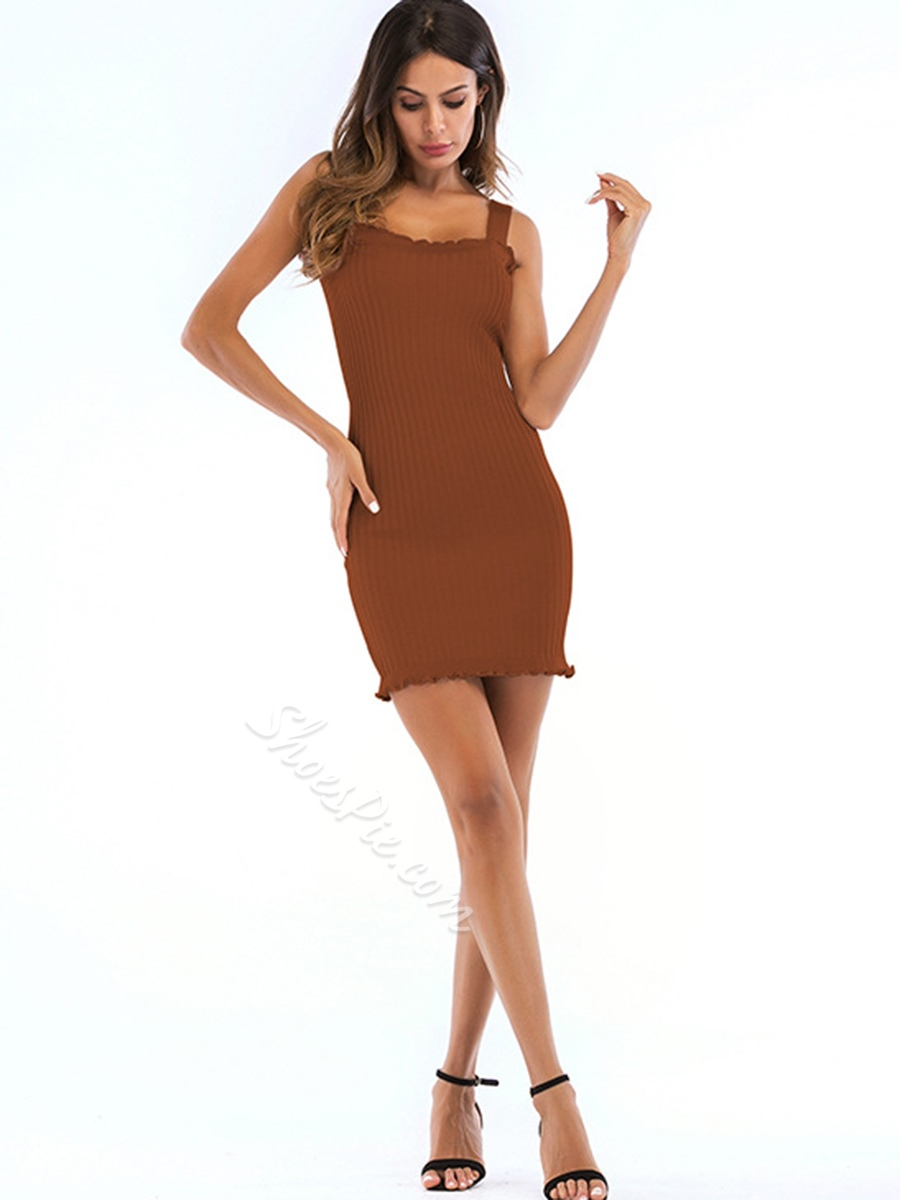 Shoespie Sleeveless Pullover Plain Women's Bodycon Dress