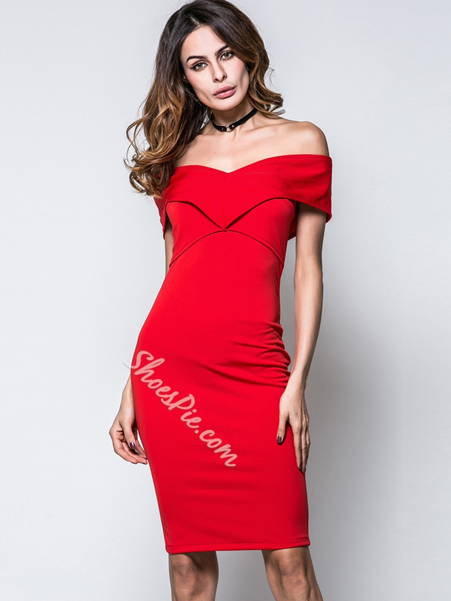 Shoespie Pullover Zipper Slash Neck Women's Bodycon Dress
