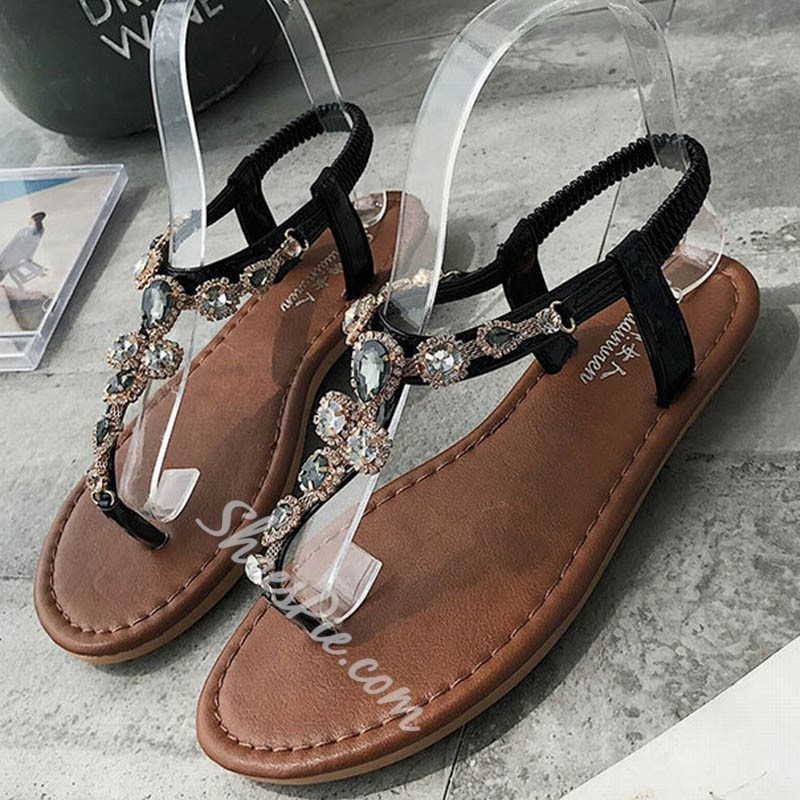 Shoespie T-Straps Elastic Band Slide Sandals