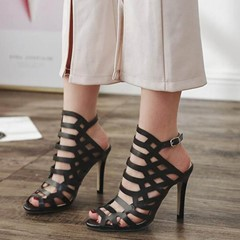 Shoespie Black Cutout Gladiator Buckle Stiletto Heels