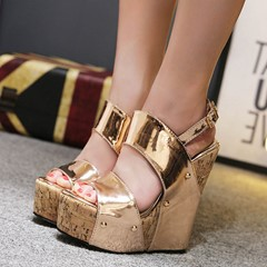 Shoespie Golden Sexy Wedge Sandals