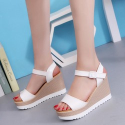 Shoespie Ankle Strap Low-Cut Upper Wedge Heels