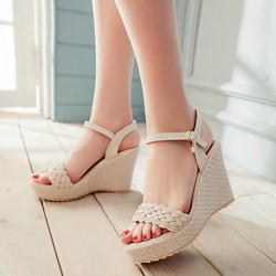 Woven Ankle Strap Buckle Open Toe Wedge Sandals