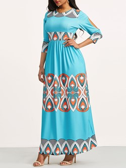 Shoespie Geometric Color Block Ethnic Women's Maxi Dress
