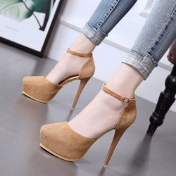 Shoespie Round Toe Platform Stiletto Heels