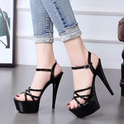 Shoespie Black Open Toe High Heels