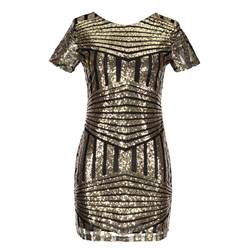 Shoespie Backless Polyester Sequins Women's Bodycon Dress