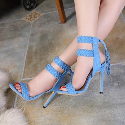Woven Lace-Up Ankle Strap Stiletto Sandals