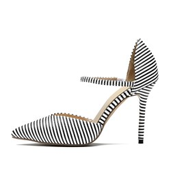 Pointed Toe Stiletto Heel Stripe Pumps