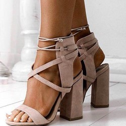 Shoespie Classic Ankle Strap Lace-Up Chunky Heels
