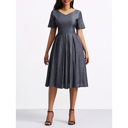 Shoespie Zipper V Neck Gray Women's A-Line Dress