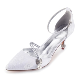Shoespie Lace Rhinestone Decorated Bridal Shoes