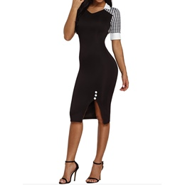 Shoespie Pullover Color Block Women's Bodycon Dress