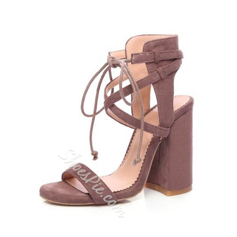 Shoespie Ankle Strap Lace-Up High Heels