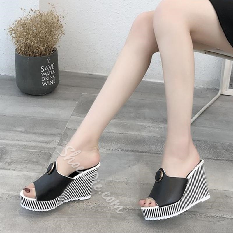 Shoespie Black & White Casual Wedge Heels
