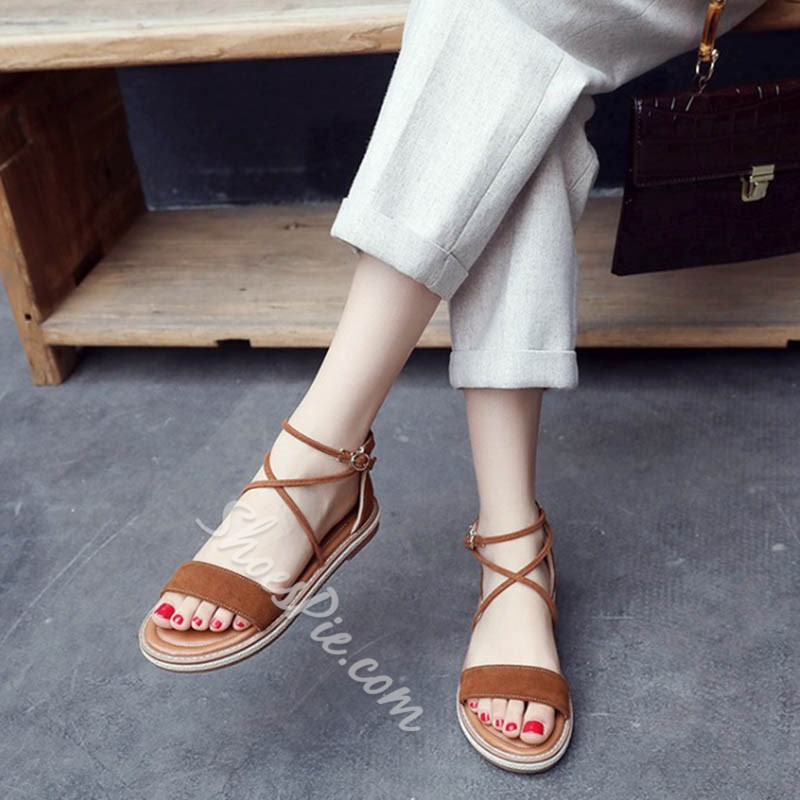 Shoespie summer Concise Heel Covering Slide Sandals