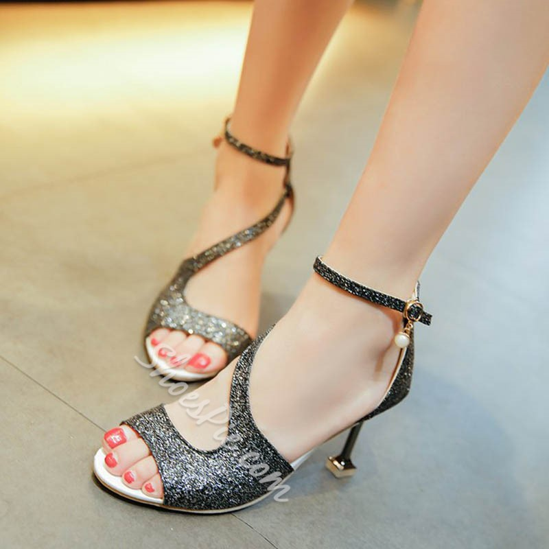 Shoespie Brilliant Cute Line-Style Buckle Sandals
