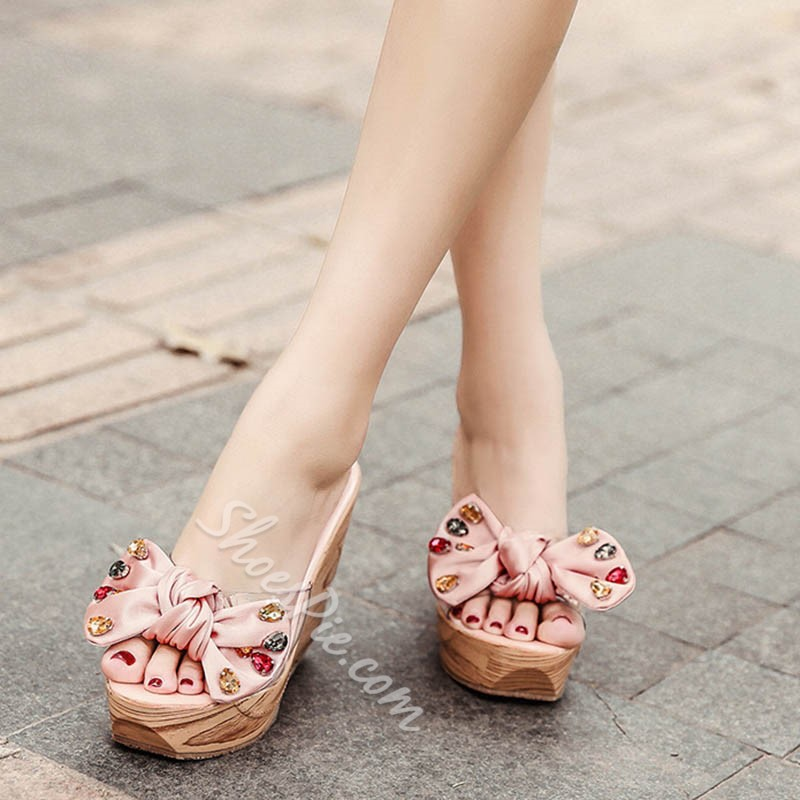 Shoespie Super Cute Rhinestone Wedge Heel