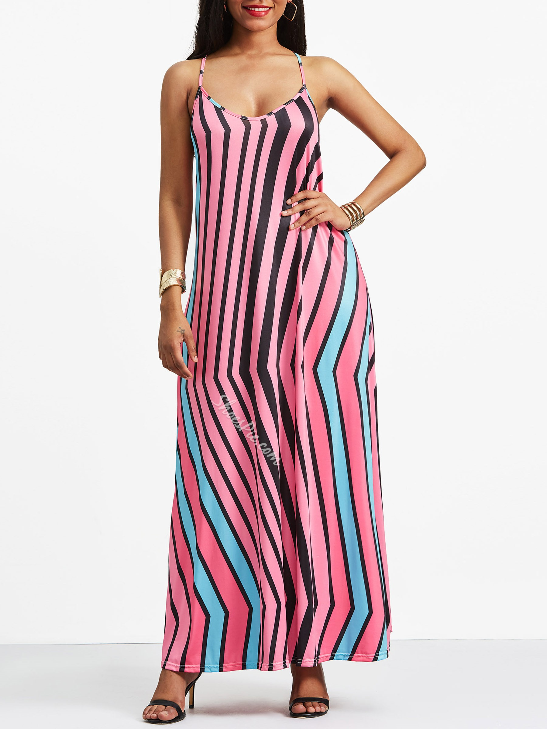 Sleeveless Stripe V Neck Women's A-Line Dress