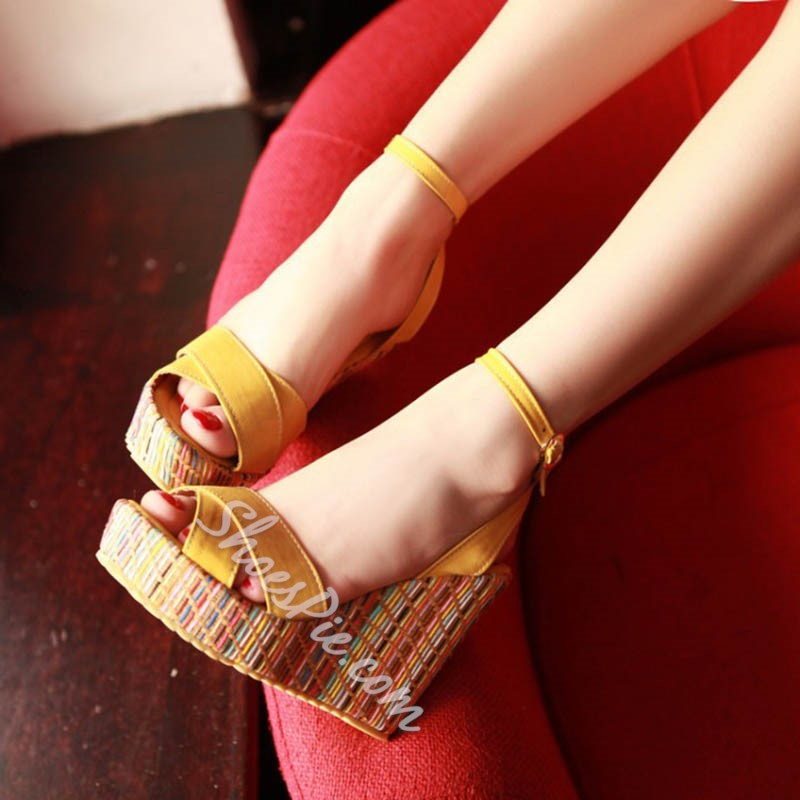 Shoespie Cute Summer Ankle Strap Wedge Sandals