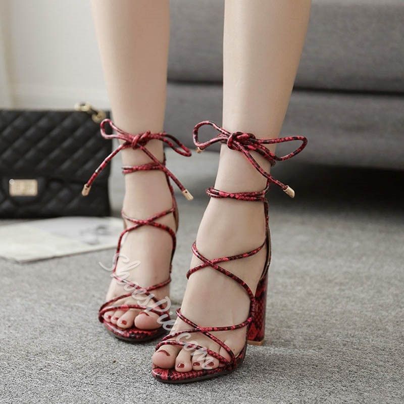 Shoespie Sexy Red Lace-up Chunky High Heels