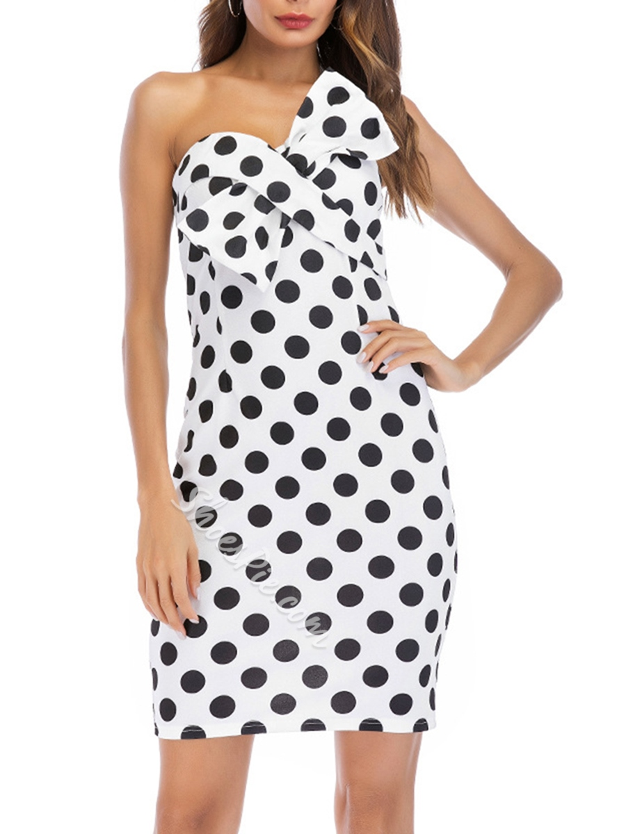 Shoespie Bowknot Strapless Polka Dots Women's Bodycon Dress