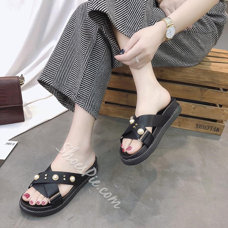Shoespie Cute Beads Platform Slide Sandals