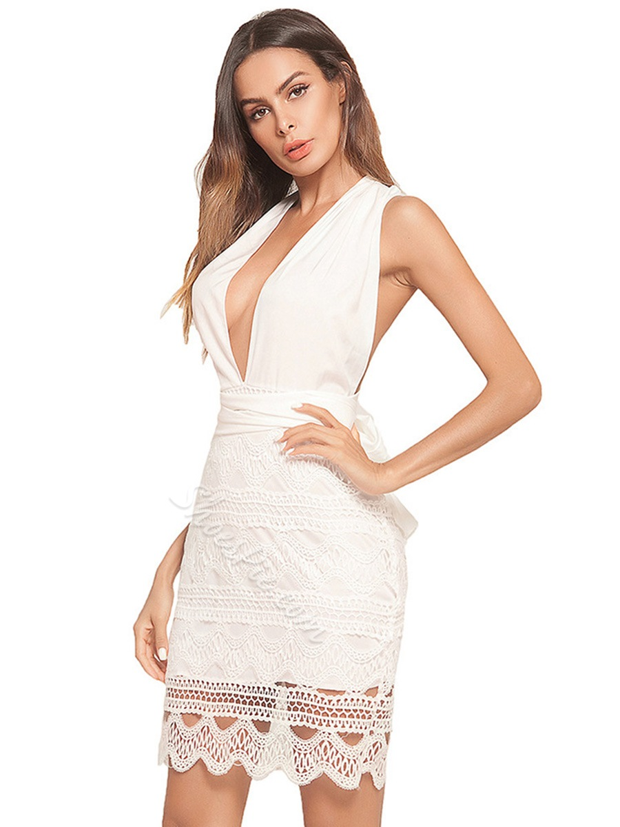 Shoespie Hollow V Neck Backless Women's Bodycon Dress
