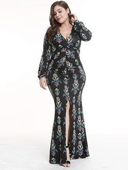 Shoespie Pullover V Neck Floral Print Women's Maxi Dress