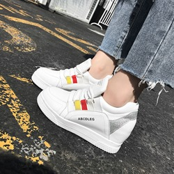 Color Block Platform Lace-Up Wedge Sneakers