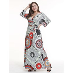 Shoespie Spaghetti Strap V Neck Print Women's Maxi Dress