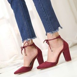 Pointed Toe Suede Lace-Up High Heels