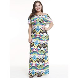Shoespie Color Block Falbala England Women's Maxi Dress