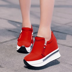 Round Toe Zipper Casual Platform Wedge Sneakers