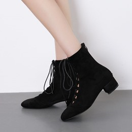 Black Lace-Up Front Square Toe Suede Fashion Boots