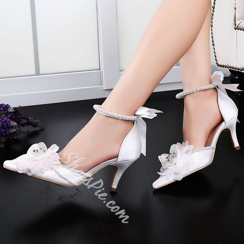 White Appliques Rhinestone Bead Pointed Toe Wedding Shoes