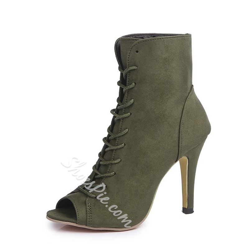 Peep Toe Suede Lace Up Fashion Boots