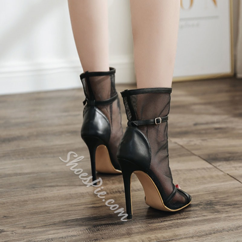 Black Mesh Hollow Peep Toe Stilettos