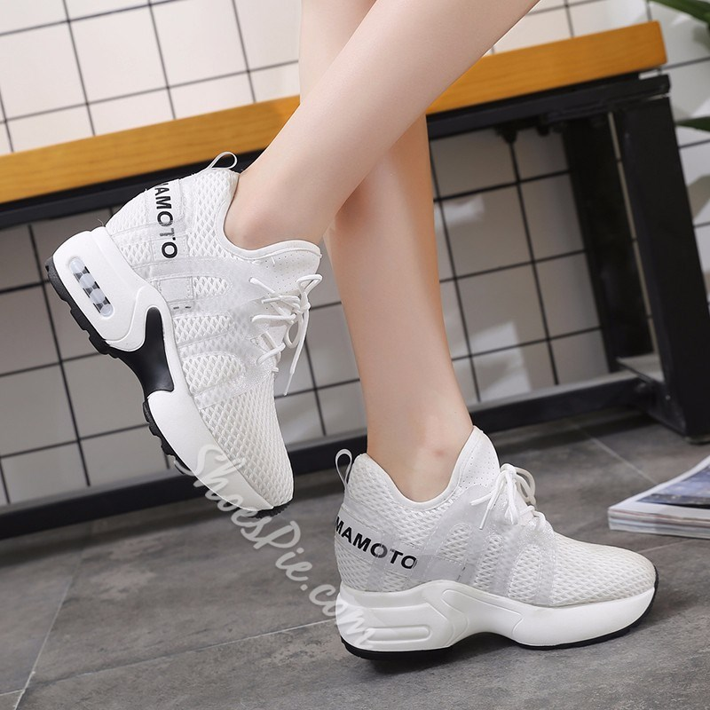 Shoespie Mesh Lace-Up Platform Wedge Sneakers